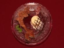 Besoffene Kapuziner in Rotweinsoße an selbst gemachtem Vanille-Eis - Rezept