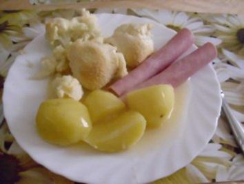 Überbackener Blumenkohl, Kochschinkenröllchen - Rezept
