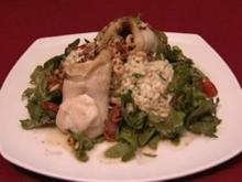 Schollenfilet mit Krabben, Rucola mit Pinienkernen und Zitronenrisotto (Hendrik Martz) - Rezept