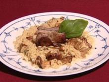 Kalbsröllchen mit Puntalette-Nudel-Risotto à la Tarantella (Anna Heesch) - Rezept