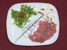 Für Carnivoren: Rinder-Carpaccio, für Vegetarier: Pilz-Carpaccio (Fiona Erdmann) - Rezept