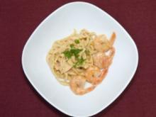 Beschwipste Garnelen, schwimmende Schwammerl an Pasta (Fiona Erdmann) - Rezept