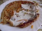 Gemüse-.Pfannkuchen mit Feta-Cremesoße - Rezept