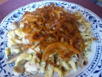 Käs-Spätzle mit Champignons - Rezept