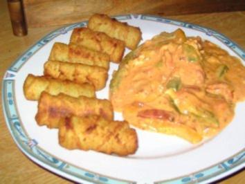 Paprikarahm- Schnitzel mit Kroketten - Rezept