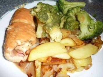 Putenrouladen mit Kartoffelspalten und Broccoli - Rezept