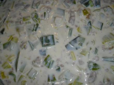 Käsesuppe mit Hackfleisch und Lauch - Rezept