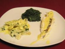 Gefüllte Tortellini mit Blattspinat und Zanderfilet - Rezept