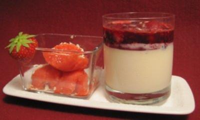 Panna Cotta mit heißen Früchten und selbst gemachtem Sorbet - Rezept
