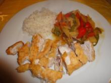 Gebackenes Hühnerfleisch mit Gemüse und Reis - Rezept