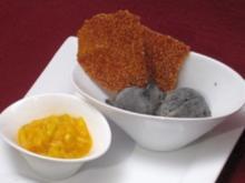 Schwarzes Sesam-Eis auf marinierter Chili-Mango und Zitronen-Sesamkrokant - Rezept