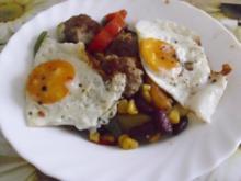 Mett-Gemüse-Pfanne mit Spiegelei - Rezept