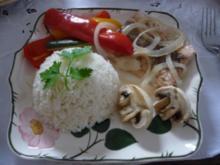 Fisch : Gedämpftes Seelachfitet an Gemüse und Reis - Rezept