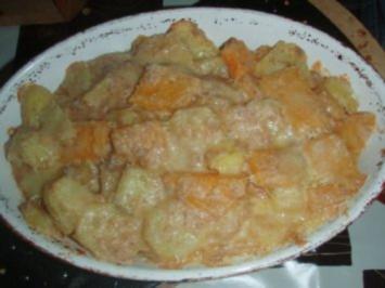 Falsches Schweinefilet mit Kartoffel - Kürbisgratin und Salat - Rezept