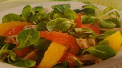 Rezept: Feldsalat mit Ingwer und Braten fränkische Art