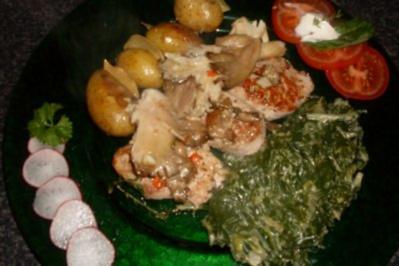 Scharfe Austernpilze auf Schweinefilets ... - Rezept