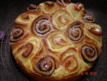 Kuchen + Torten : Hefe-Schneckenkuchen mit 2 Füllungen - Rezept