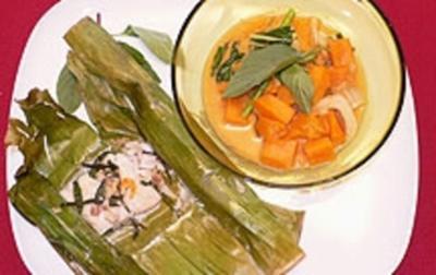 Papageienfisch im Bananenblatt mit Süßkartoffelcurry und Basmatireis - Rezept