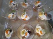 Wachtelei auf Kaviar mit Tapenade und Knoblauch-Panko-Brösel - Rezept