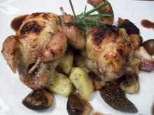 lackierte Wachteln auf Trüffelgnocchi und einer Jus von der Ente - Rezept