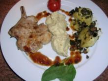 Iberico Schweine-Kotelett mit Kartoffel-Mandel-Püree und Artischocken - Rezept