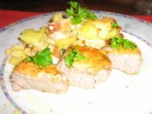 Medaillions vom Schweinefilet  mit Parmesankruste an Blumenkohl-Auflauf - Rezept