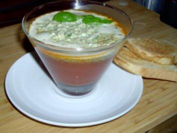 Tomatensüppchen mit Basilikumschaum - Rezept
