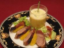 Entenbrust in Calvados glasiert an Gemüsecreme mit Thymianschaum - Rezept