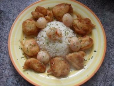 Pute im Teigmantel mit asiatischer Litschi-Sauce - Rezept