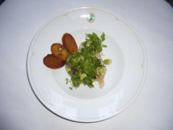 Dorade mit Jakobsmuschel, Avocado und Kräutersalat - Rezept