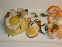 Kartoffelpüree mit Wachtelspiegelei und Krabben - Rezept