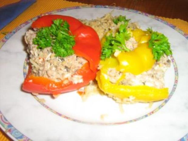 Gefüllte Paprika mit Putenhack, Champignons und Reis - Rezept - Bild Nr. 9