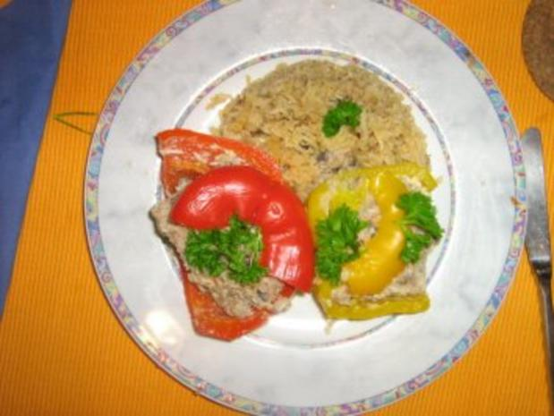 Gefüllte Paprika mit Putenhack, Champignons und Reis - Rezept - Bild Nr. 8