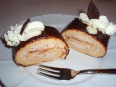 Torte: Lebkuchen - Biskuitrolle - Rezept