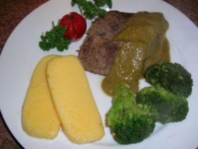 Giacommos Rinderbraten in Olivenöl geschmort, mit Polenta und Broccoli    (siehe Fotos) - Rezept