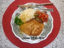 Putenschnitzelchen mit Kokospanade  und Aprikosenreis - Rezept