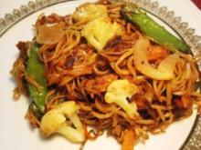 Mariniertes Schnitzel aus dem Wok mit  Nudeln und Gemüse - Rezept