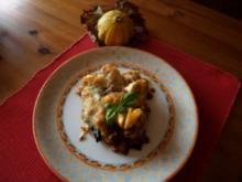 Tortellini mit Auberginen-Tomaten-Hackfleischsoße im Ofen überbacken - Rezept