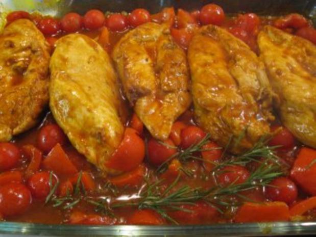 Hähnchenbrust auf Paprika gebettet - Rezept - Bild Nr. 6