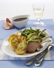 Gratiniertes Lammkarrée zu Grill- & Pfannen-Kartoffeln - Rezept
