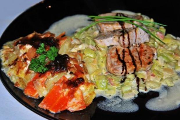 Filetsteaks auf Safransahne-Lauch an Kartoffel-Birnengratin... - Rezept