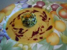 Suppen: Kürbis- Orangen Schaumsuppe mit Zucchini Tatare - Rezept