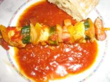 Hähnchenschaschlik mit einer scharfen Tomatensoße - Rezept
