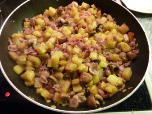 Kartoffel-Tortillia mit Speck und Champignons - Rezept - Bild Nr. 7