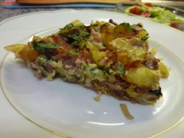 Kartoffel-Tortillia mit Speck und Champignons - Rezept