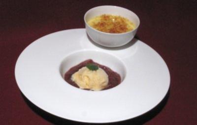 Rezept: Gebrannte Vanillecreme mit Rieslingschaumeis und Feigenkompott