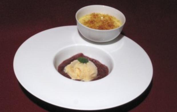 Gebrannte Vanillecreme mit Rieslingschaumeis und Feigenkompott - Rezept