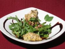 Parmesan-Oregano-Putencrossies auf Rucola-Bett - Rezept