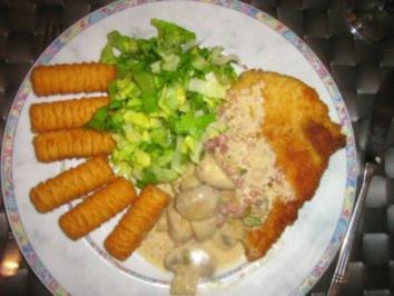 Schnitzel mit Champignon-Rahmsoße und Kroketten - Rezept