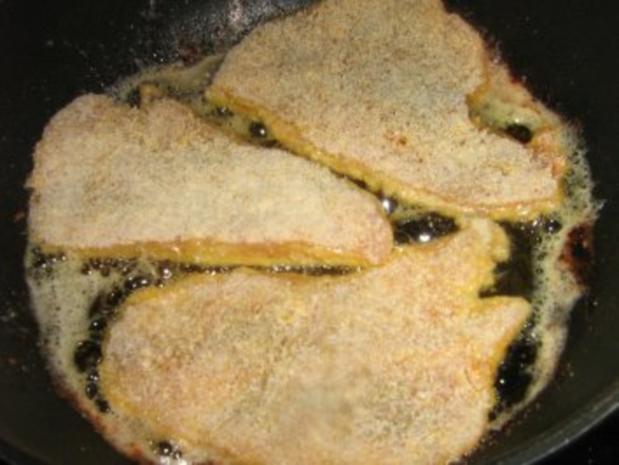Schnitzel mit Champignon-Rahmsoße und Kroketten - Rezept - Bild Nr. 3